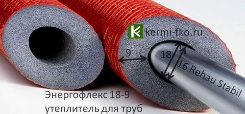 Красный утеплитель для труб отопления Энергофлекс трубки Energoflex