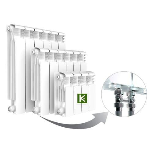 Алюминиевые радиаторы Rifar ALUM Ventil 500 с нижним подключением слева (батареи отопления Рифар)