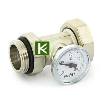 628N4500 Соединение с накидной гайкой и термометром Uni-fitt - для коллекторов Юнифит