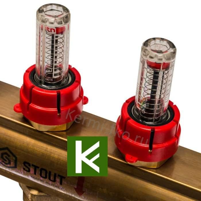 Коллектор Stout SMB 0473 000008 - коллекторы теплого пола с расходомерами Стаут