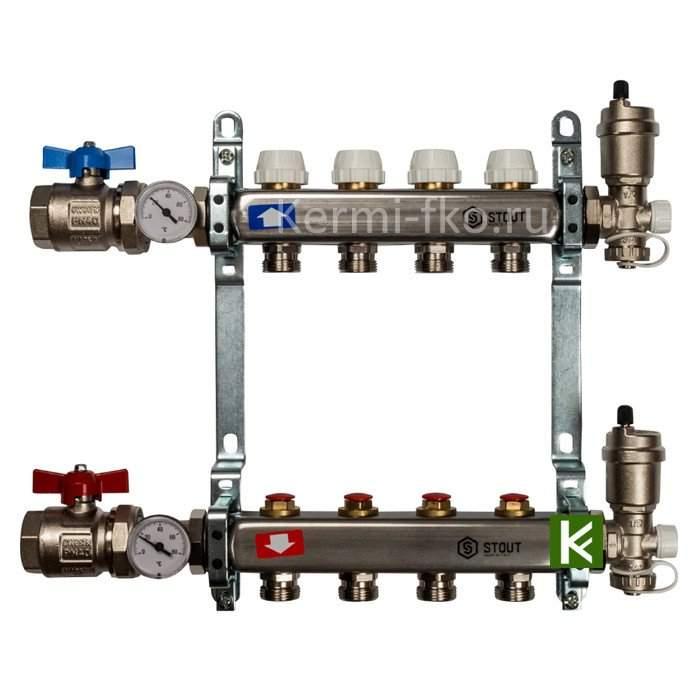 Коллекторы STOUT для радиаторов отопления (коллектор Стаут с кранами)