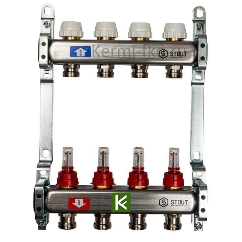 Коллектор Stout SMS 0917 000004 - коллекторы теплого пола с расходомерами Стаут