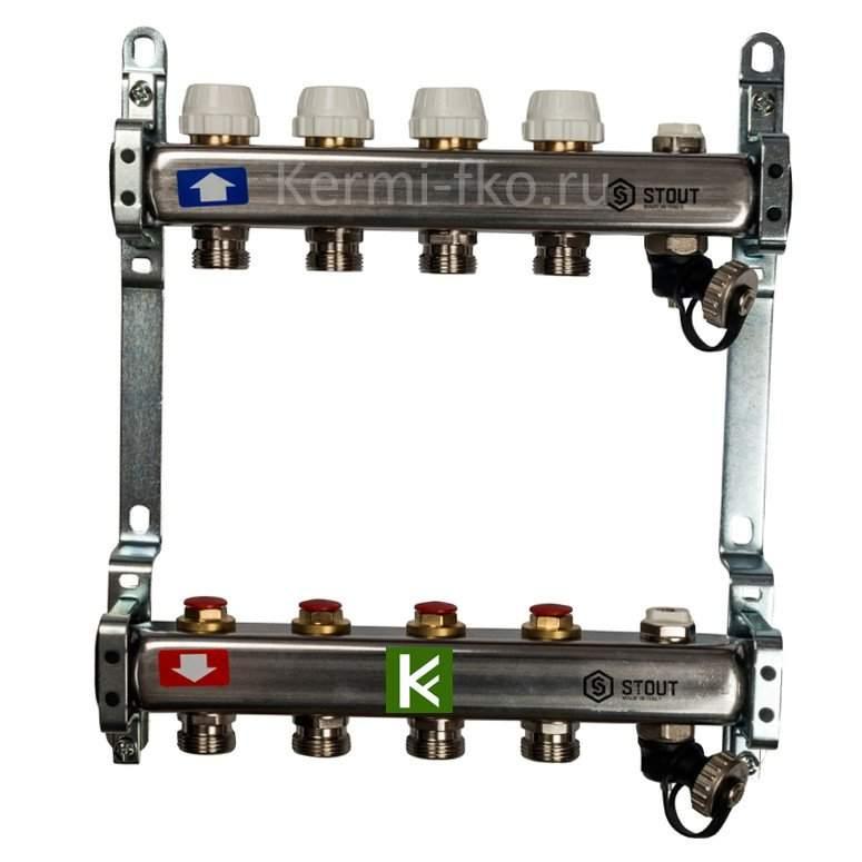 Коллекторы STOUT для радиаторов отопления (коллектор Стаут с кранами, клапаном и сливом)
