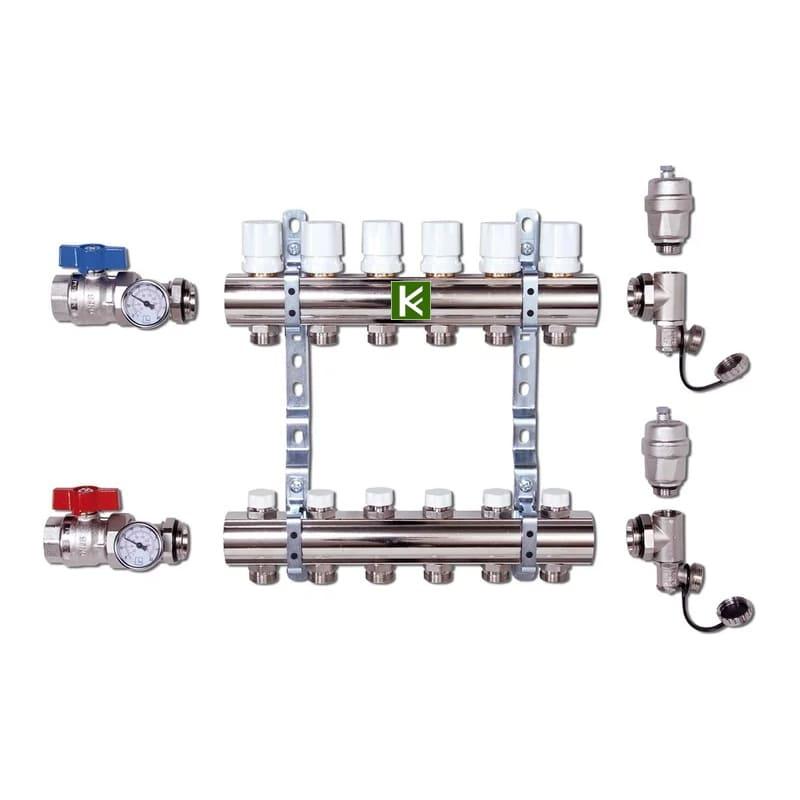 Коллекторная группа Luxor CD 468M в сборе - коллекторы Люксор для радиаторов отопления с кранами