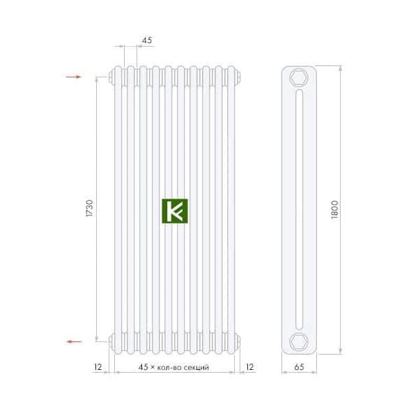 трубчатые радиаторы Арбония 2180 - радиатор отопления Arbonia 2180 (цвет Anthrazit-metallic)