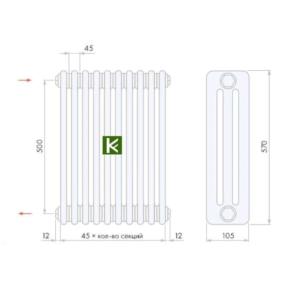 трубчатые радиаторы Арбония 3057 (цвет Anthrazit-metallic) - батареи отопления Arbonia