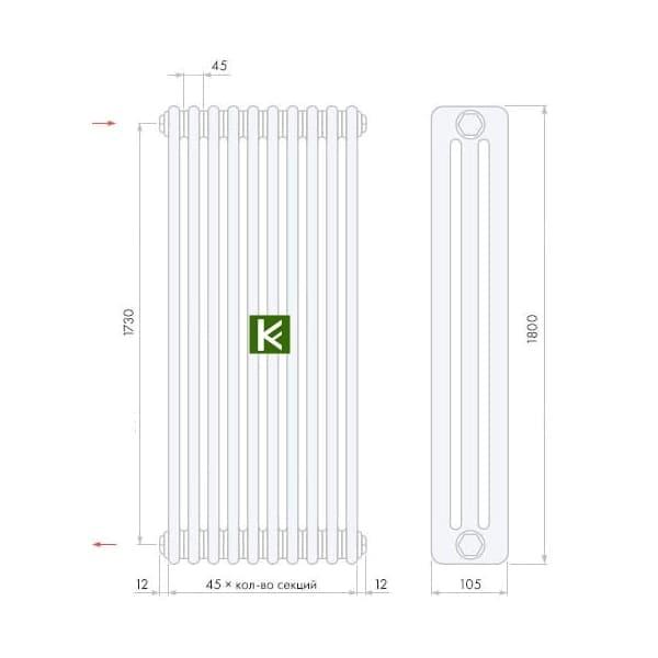 трубчатые радиаторы Арбония 3180 - радиатор отопления Arbonia 3180 (цвет Anthrazit-metallic)