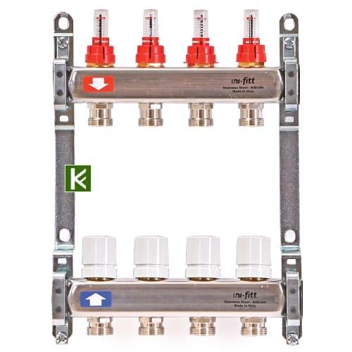 Коллекторы Uni-Fitt c расходомерами и без концевиков (коллектор Юнифит)
