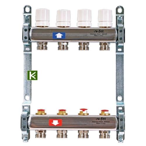 Коллекторы Uni-Fitt c вентилями и без концевиков (коллектор Юнифит)
